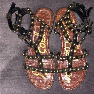 Sam Edel Black Leather Eavan Gladiator Sandal Gold
